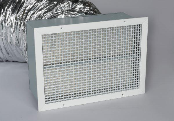 A photo of the damper box and ceiling grille on a QuietAir whole house fan.