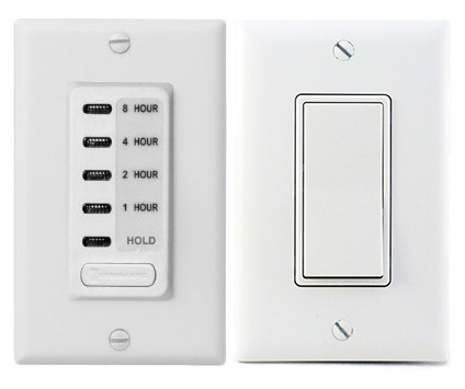A photo of the two-speed wall switch with timer.